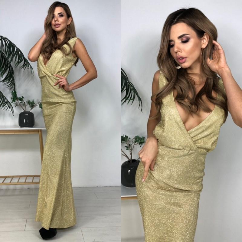 Платье в пол открытая спина декольте на запах люрекс-хамелеон золото