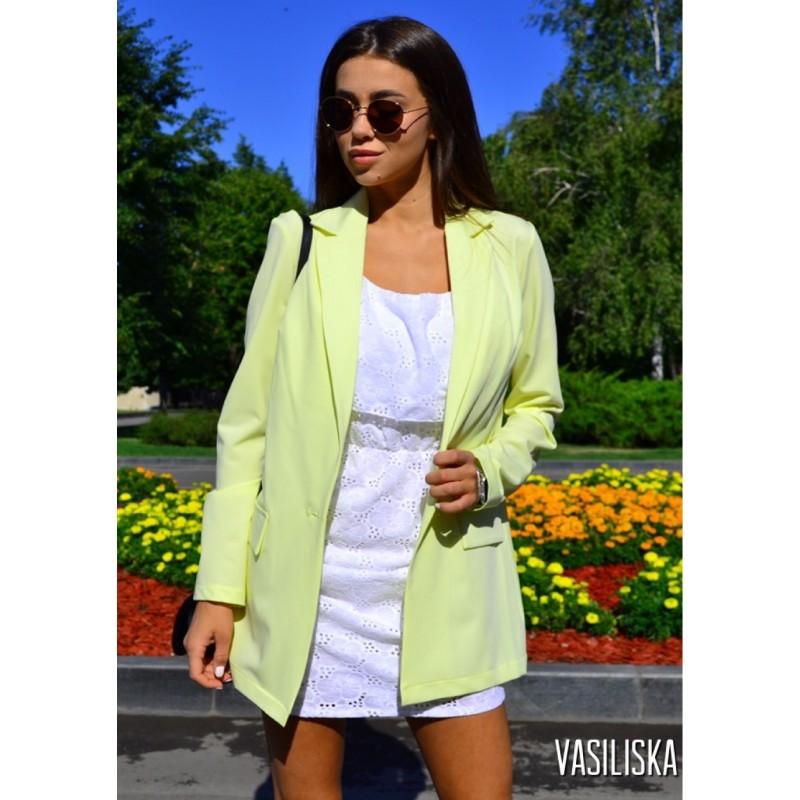 Пиджак летний костюмка лимонный