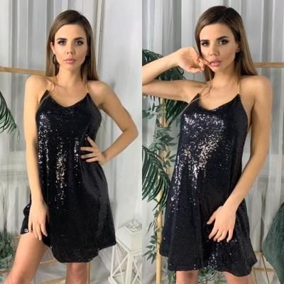 Платье пайетки на металлической цепочки открытая спина черное