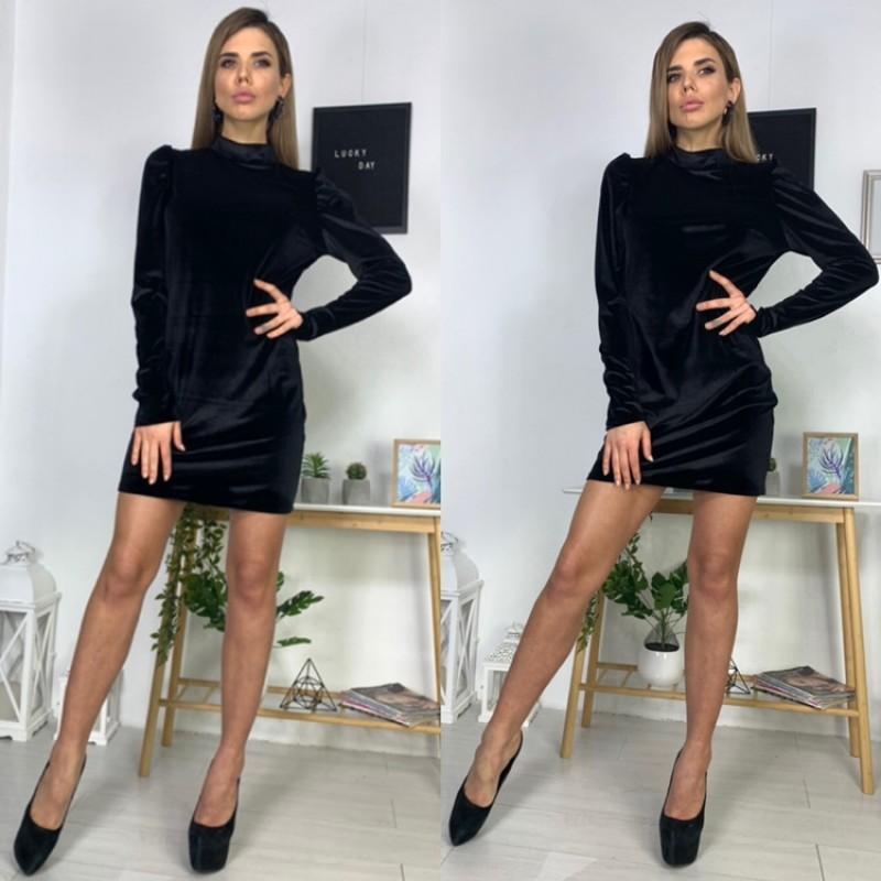 Платье мини рукава сборка бархат черный