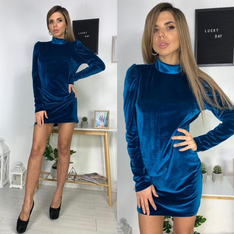 Платье мини рукава сборка бархат электрик