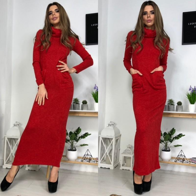 Платье гольф длинное по фигуре с карманами длинный рукав красное