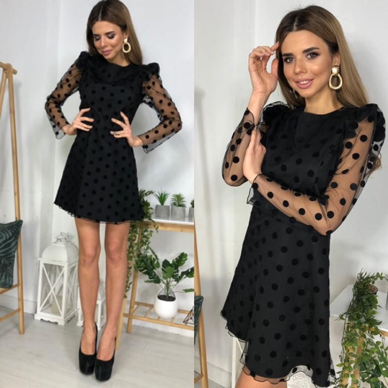 Платье костюмка + сетка горох черное