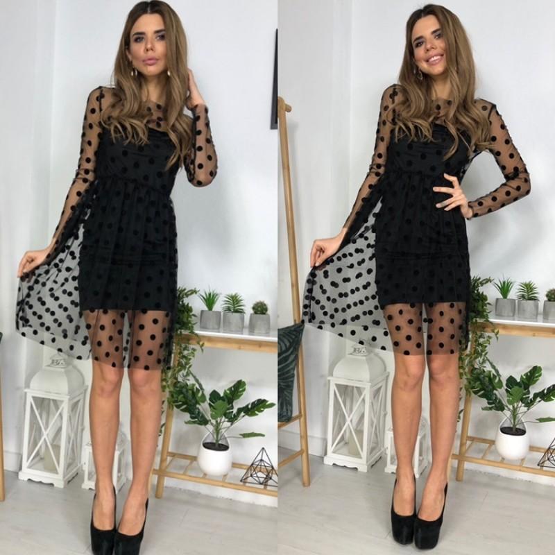Платье-чехол микромасло + сетка горох черное