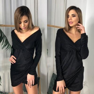 Платье короткое на запах длинный рукав широкий V-образный вырез декольте черное