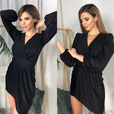 Платье на запах с асимметричным подолом широкий втачной пояс черное
