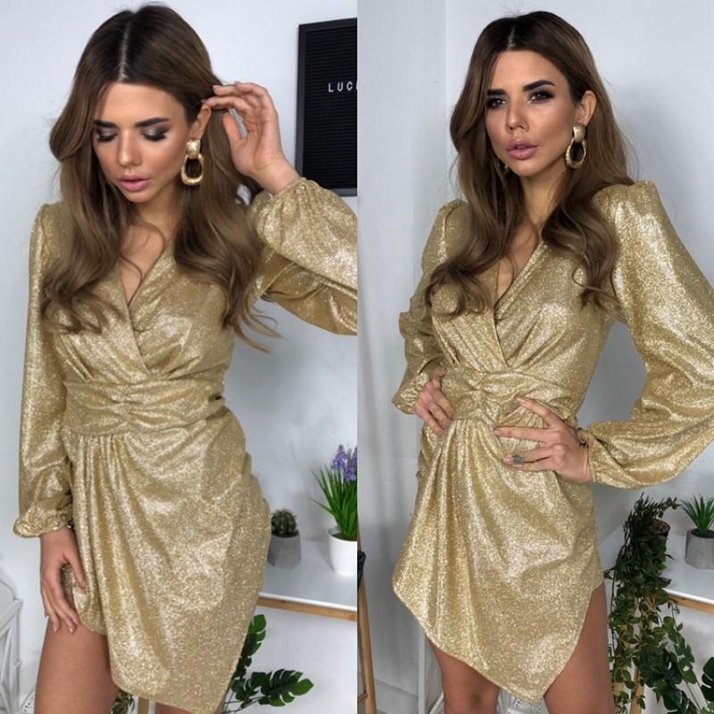Платье на запах с асимметричным подолом широкий втачной пояс золотое