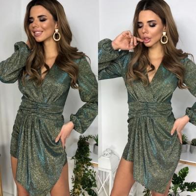 Платье на запах с асимметричным подолом широкий втачной пояс хаки