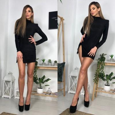 Платье-гольф мини с подплечниками с разрезом люрекс черный