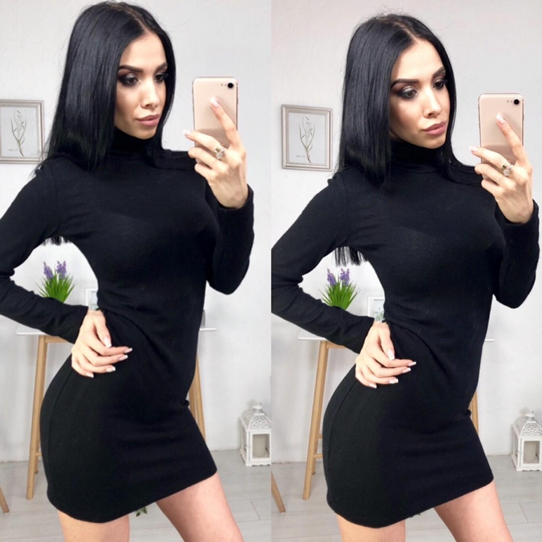 Платье-гольф из ангоры черное