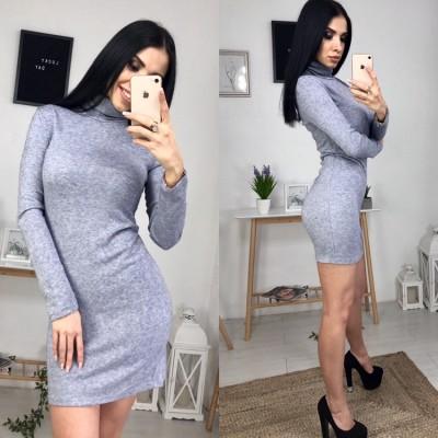 Платье-гольф из ангоры серое