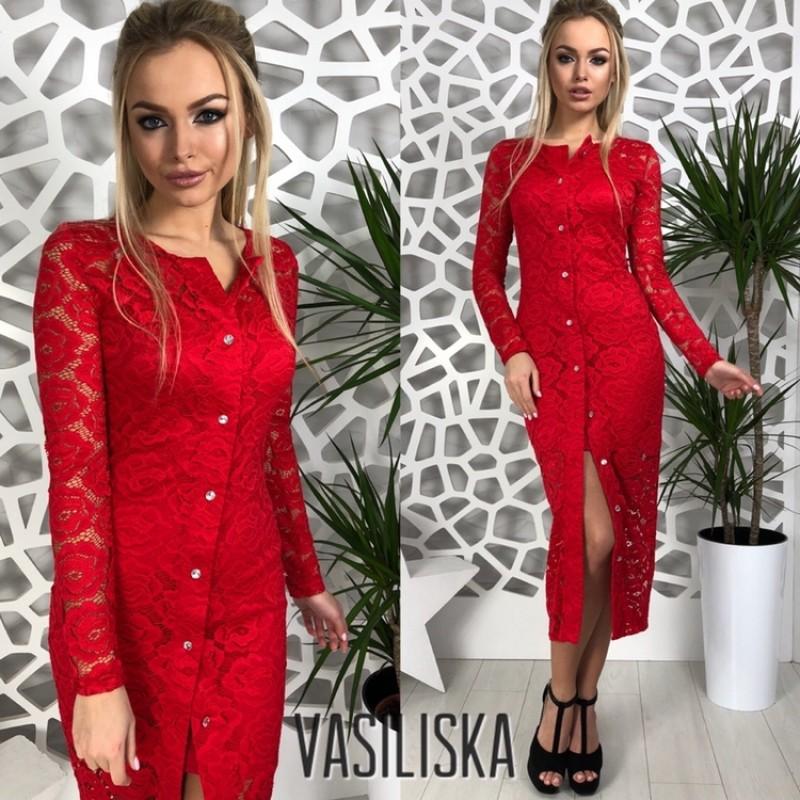 Платье двойка миди по фигуре гипюр+масло красный