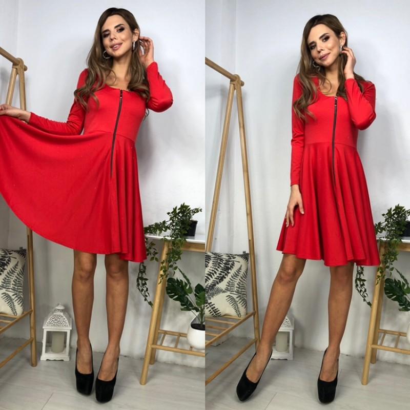 Платье короткое отрезное по талии юбка солнце декольте молния красное