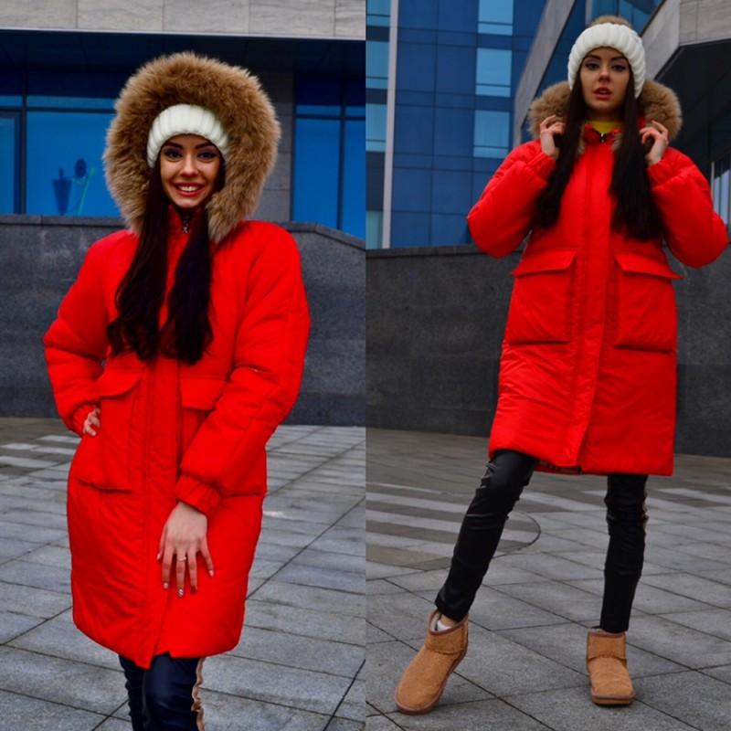 Куртка с накладными карманами с капюшоном с натуральным мехом красная