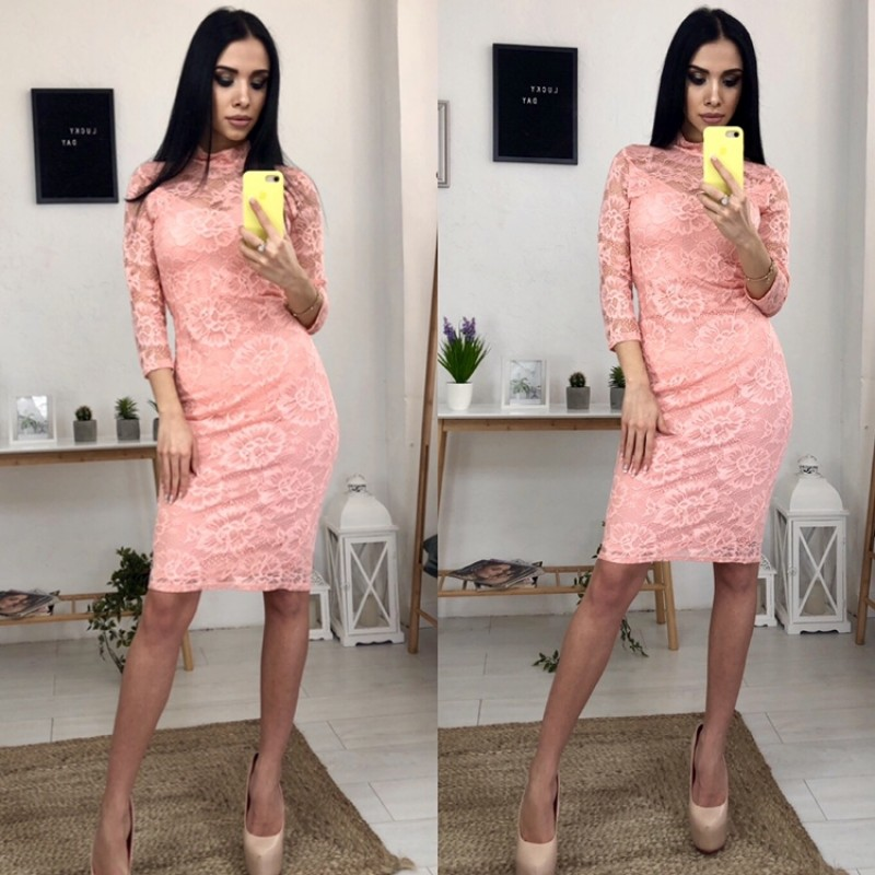 Платье миди гипюровое на подкладке персик