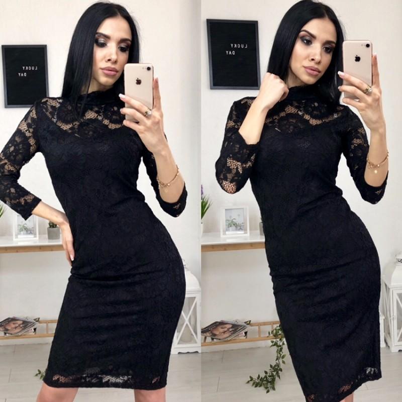 Платье миди гипюровое на подкладке черное