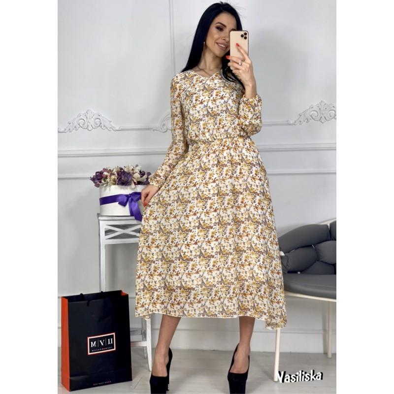 Платье из шифона отрезное по талии на резинке ассиметричный подол беж цветы на белом