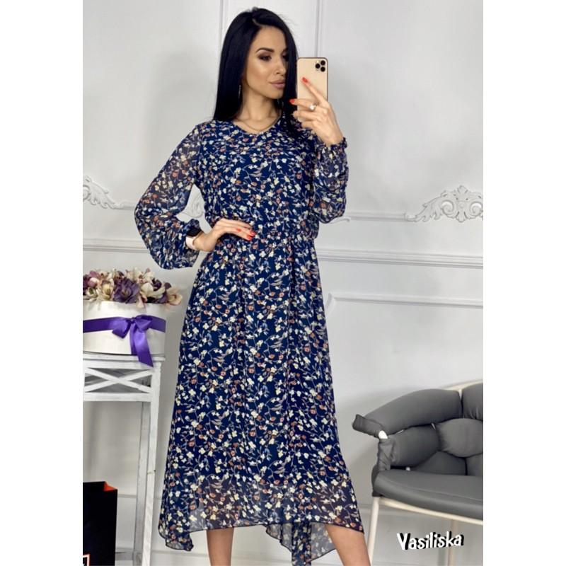 Платье из шифона отрезное по талии на резинке ассиметричный подол цветы на синем
