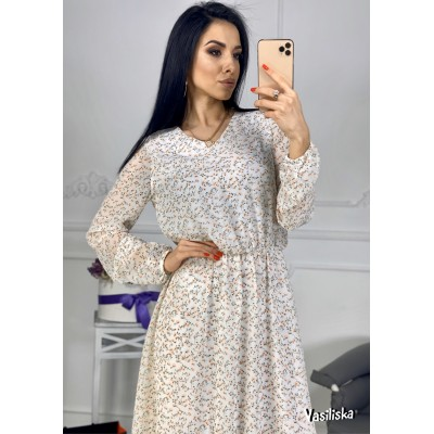 Платье из шифона отрезное по талии на резинке ассиметричный подол мелкие цветы на белом
