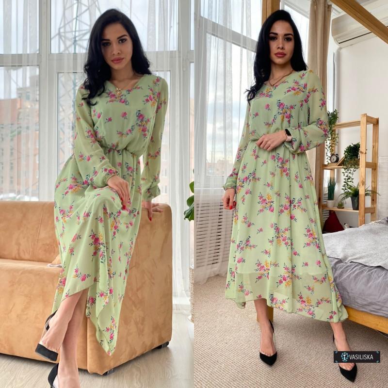 Платье из шифона отрезное по талии на резинке ассиметричный подол розовые цветы на оливковом