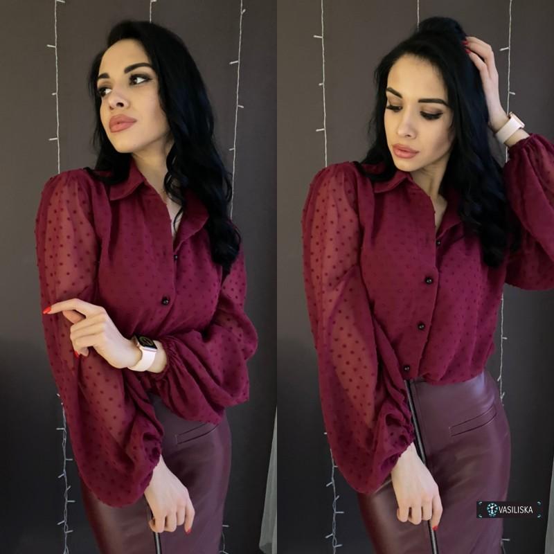 Блуза свободного кроя из шифона горох с подкладкой марсала