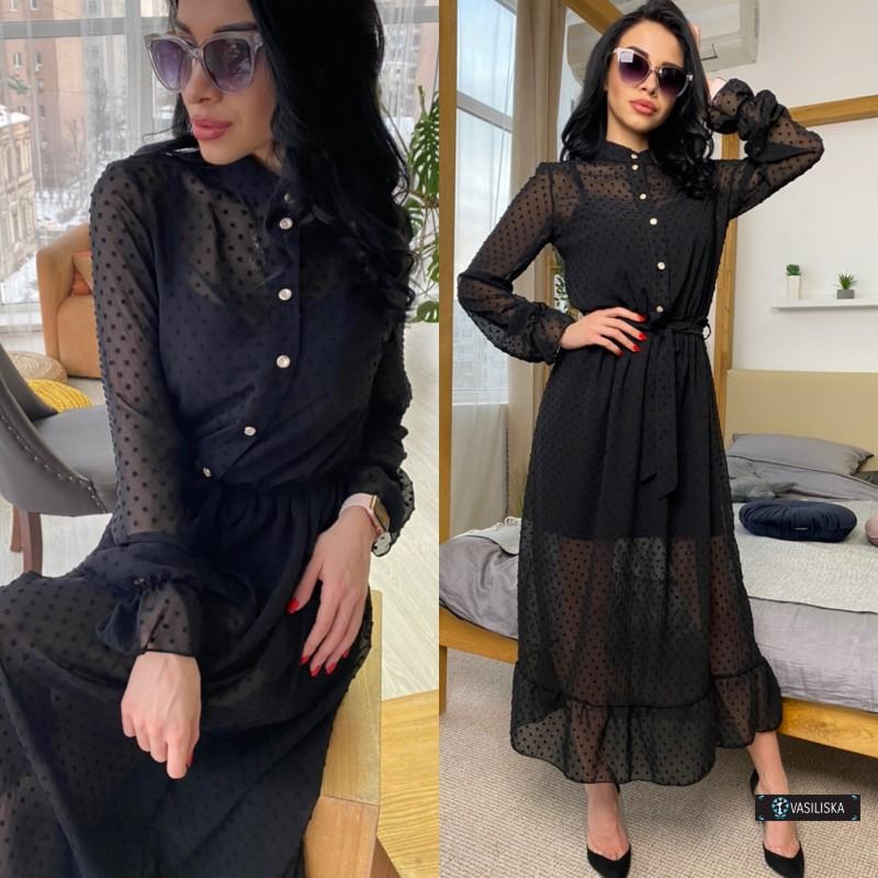 Платье двойка миди шифон флок + платье-майка софт черное в горох