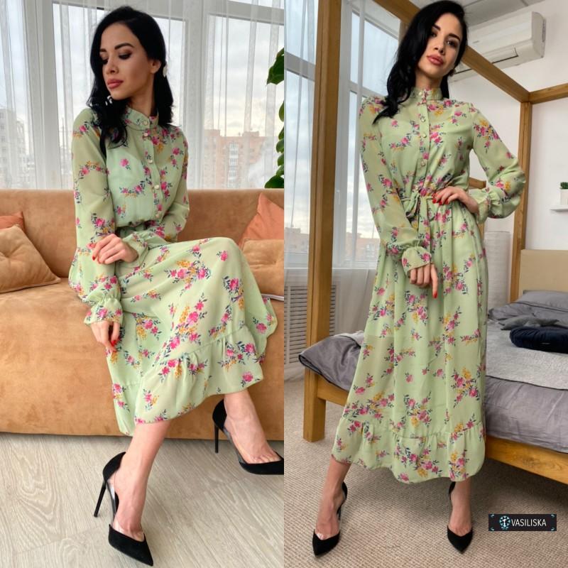 Платье двойка миди шифон флок + платье-майка софт розовые цветы на оливковом