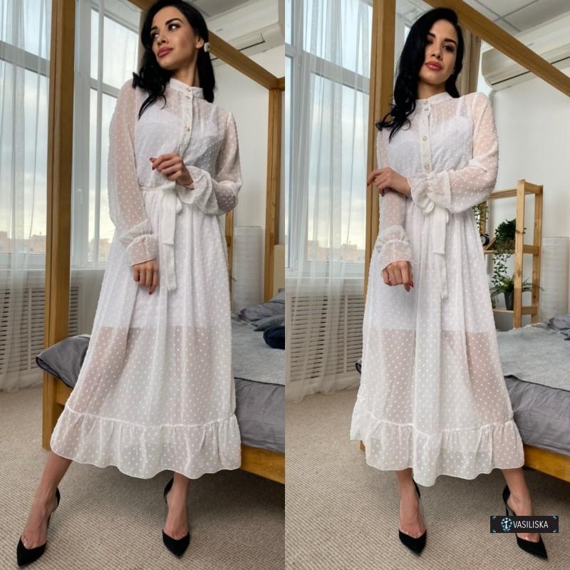 Платье двойка миди шифон флок + платье-майка софт белое в горох