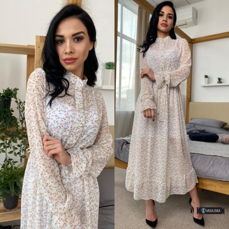 Платье двойка миди шифон флок + платье-майка софт мелкие цветы на белом