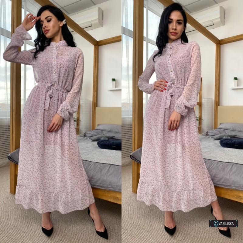 Платье двойка миди шифон флок + платье-майка софт мелкие цветы на светло-лиловом