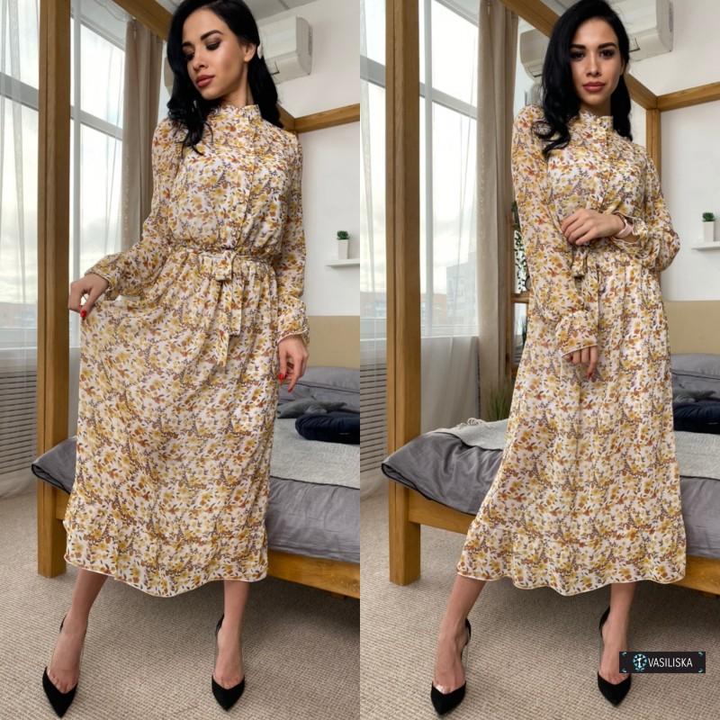 Платье двойка миди шифон флок + платье-майка софт бежевые цветы на белом