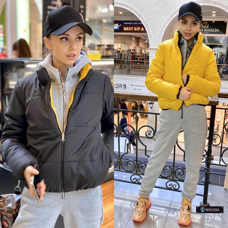 Куртка двусторонняя на молнии желтый лак/черный