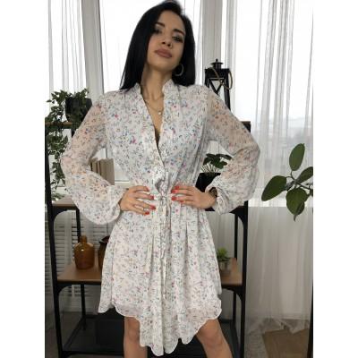 Платье короткое с поясом треугольный подол шифон мелкие цветы на белом