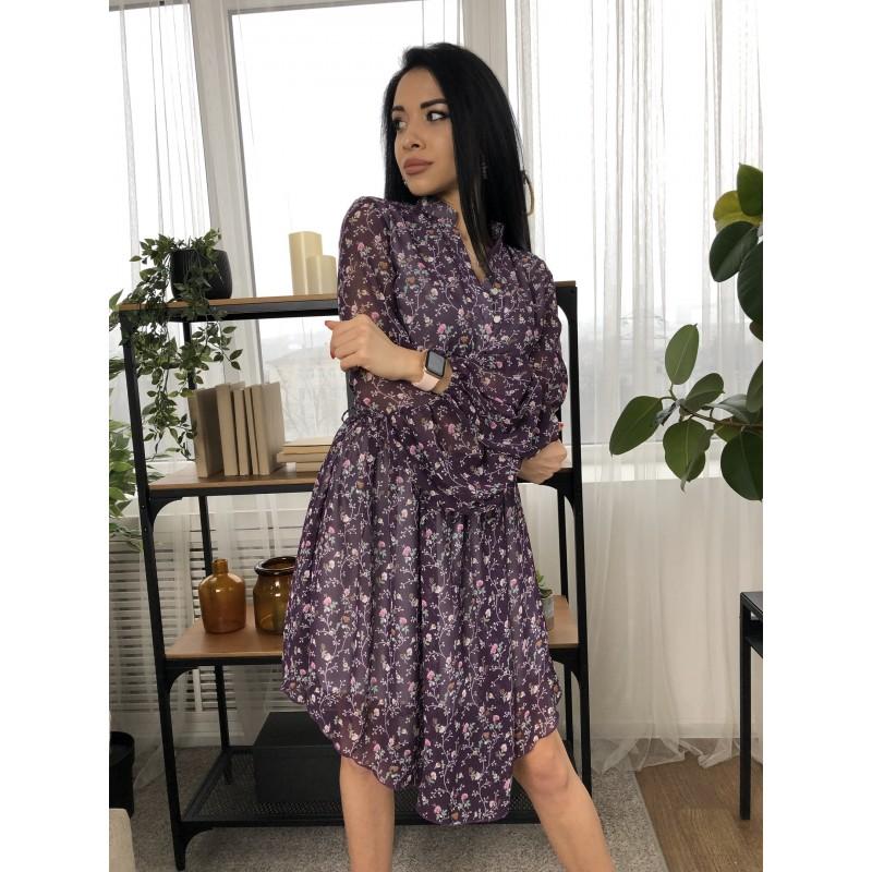 Платье короткое с поясом треугольный подол шифон мелкие цветы на фиолетовом