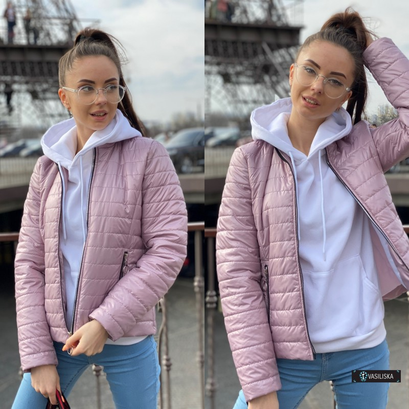 Куртка стеганная лиловая лак