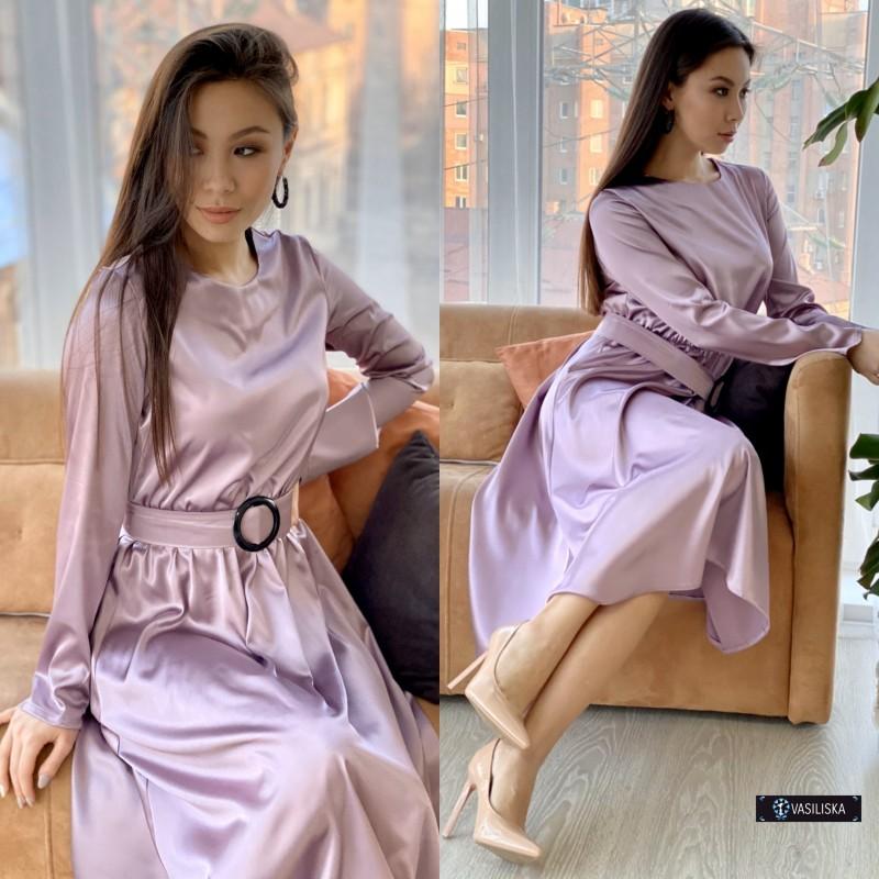 Платье миди отрезное по талии с поясом атласное лиловое