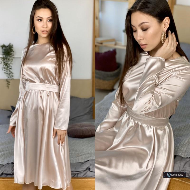 Платье миди отрезное по талии с поясом атласное бежевое