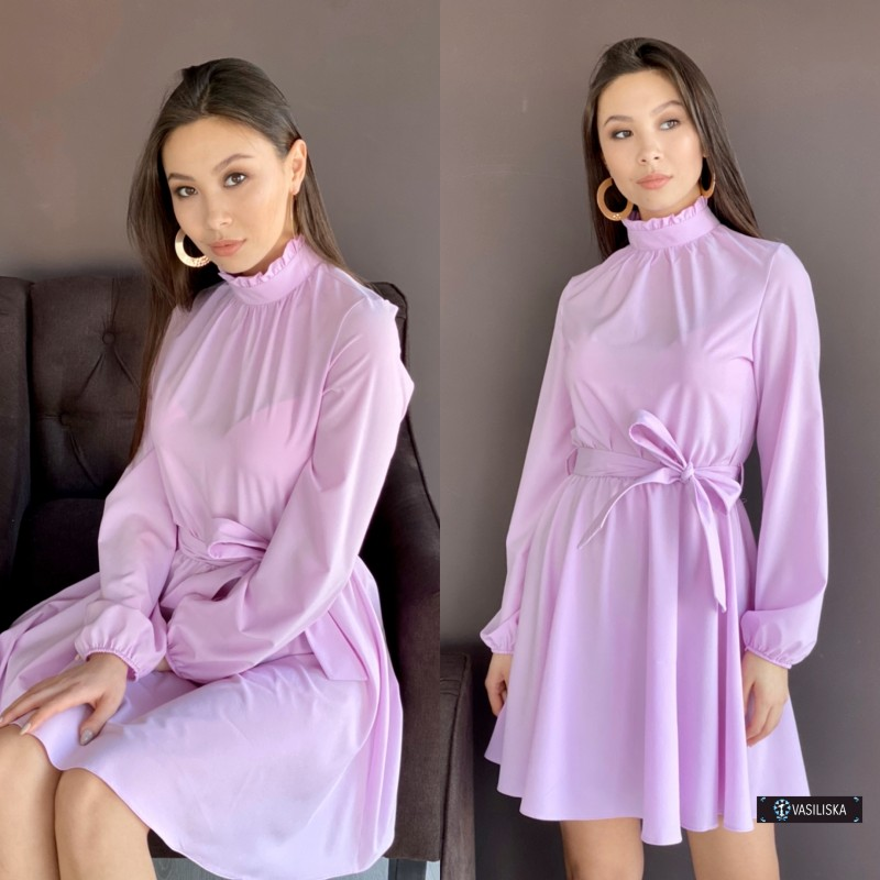Платье под горло с отрезной талией юбка до колен сиреневое