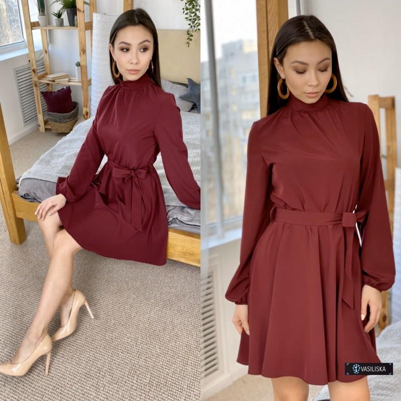 Платье под горло с отрезной талией юбка до колен вишневое