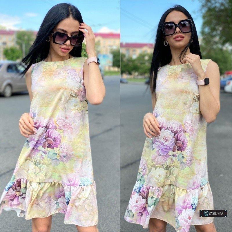 Платье без рукавов с воланом по низу принт лимонно-сиреневые розы