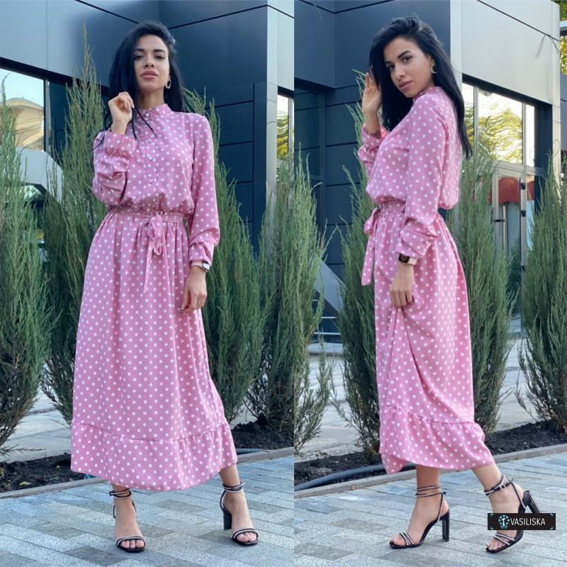 Платье миди отрезное по талии с поясом верх на пуговицах розовое в белый горох