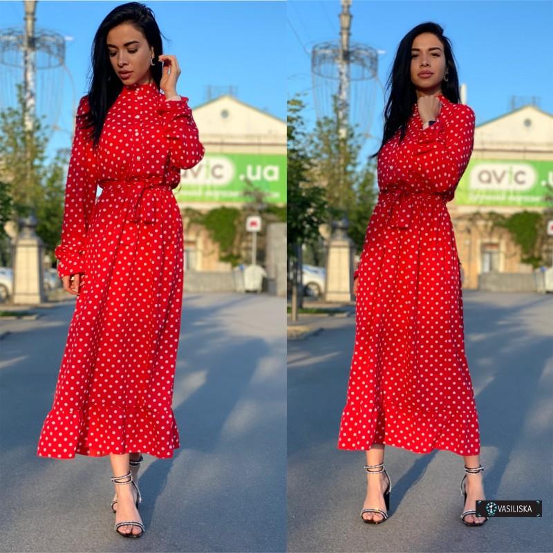 Платье миди отрезное по талии с поясом верх на пуговицах красное в белый горох