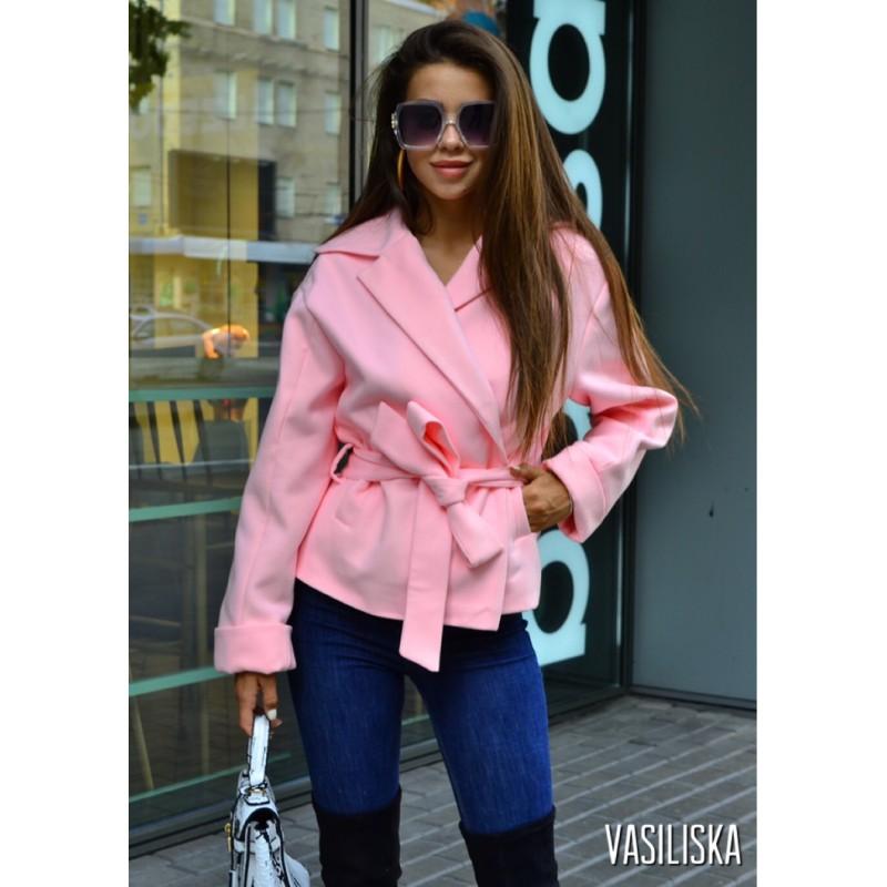 Полупальто с поясом и карманами розовый
