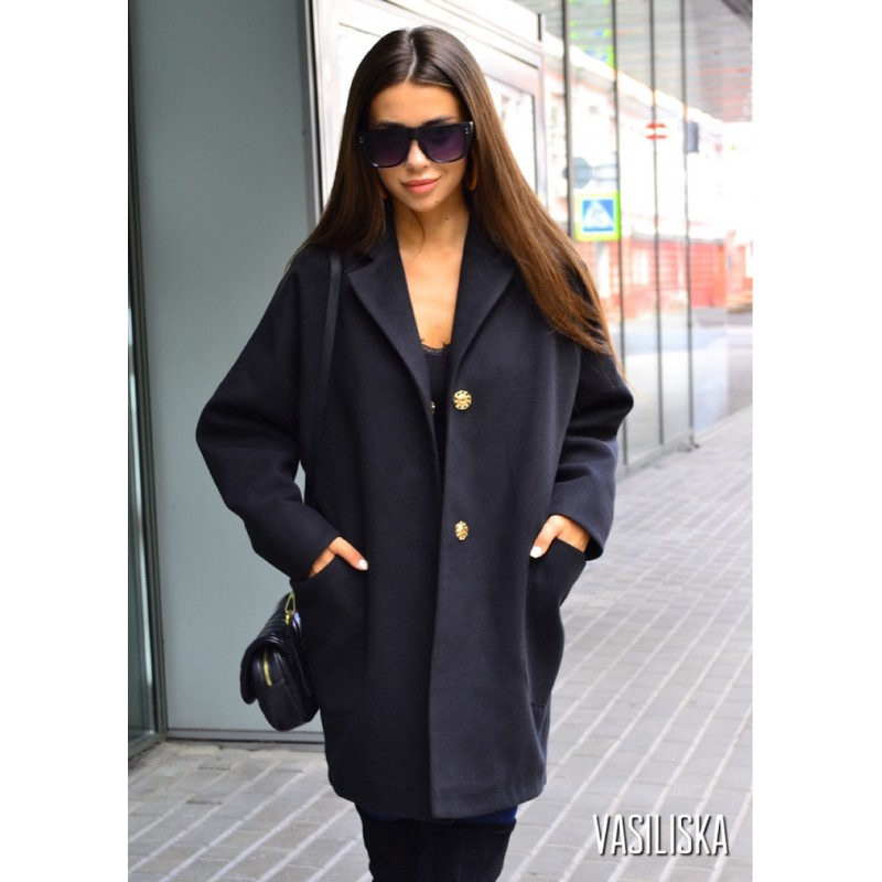 Пальто оверсайз на кнопках с карманами черное