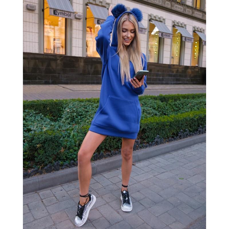 Платье-худи спортивное с капюшоном электрик XS, S, M, L