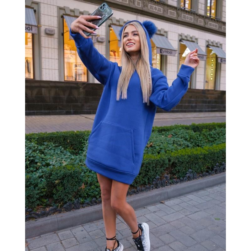 Платье-худи спортивное с капюшоном электрик XL, 2XL, 3XL, 4XL
