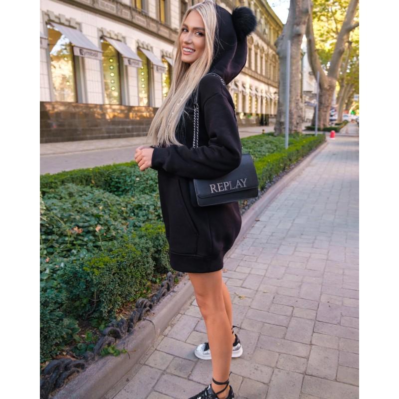 Платье-худи спортивное с капюшоном черное XL, 2XL, 3XL, 4XL