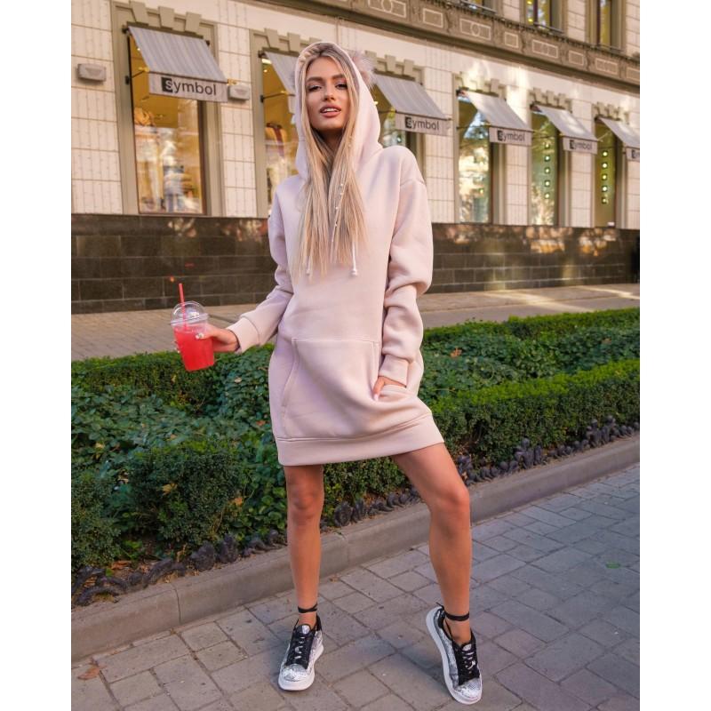 Платье-худи спортивное с капюшоном бежевое XL, 2XL, 3XL, 4XL