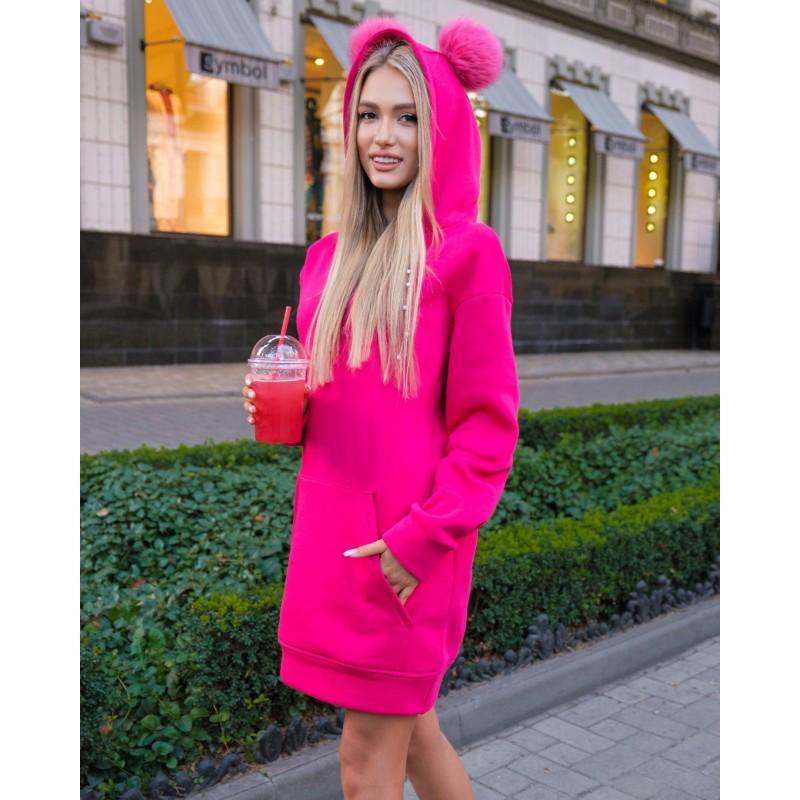 Платье-худи с капюшоном малиновое XS, S, M, L