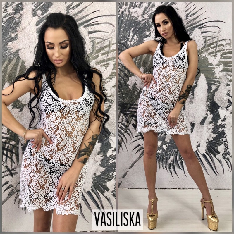 Пляжная туника-платье макраме белый